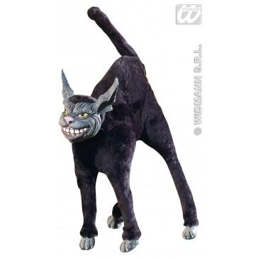 harige buigbare zwarte kat, 28cm