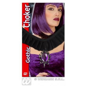 gothic choker met hanger en paarse gemsteen