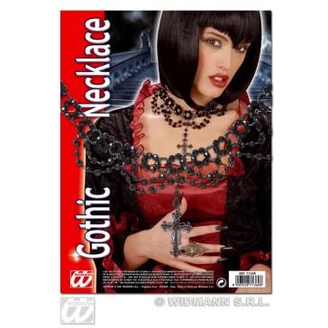 gothic beparelde ketting met kruis hanger