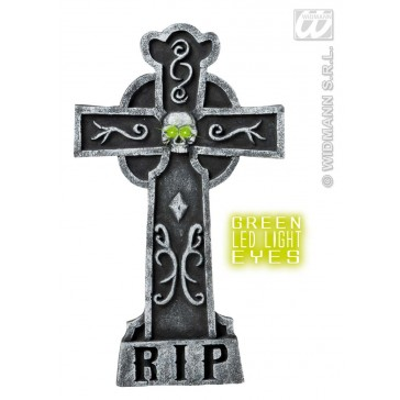 grafsteen kruis met licht