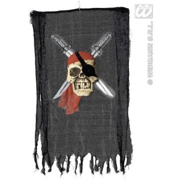 banner piratenschedel met zwaard