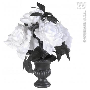vaas met 6 witte rozen met kleurverlichting