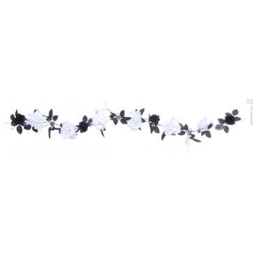 guirlande met witte rozen, schedels, verlichting- 180cm