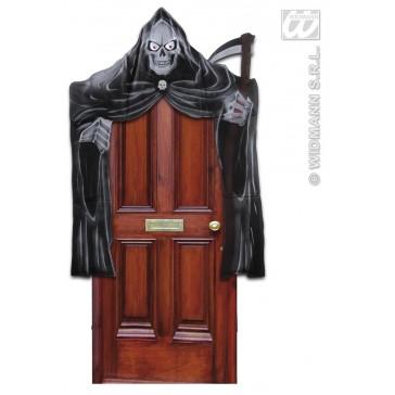 deurdecoratie grimreaper met lichtg. ogen 208x147cm