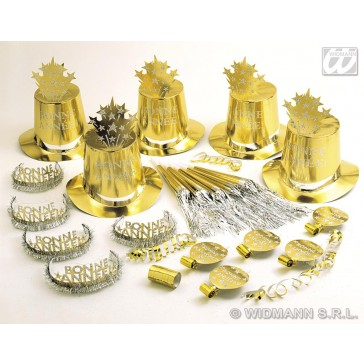 """gold bonne annee'"" party kit voor 10 personen"