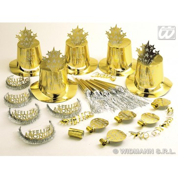 """gold feliz ano nuevo"" party kit voor 10 personen"