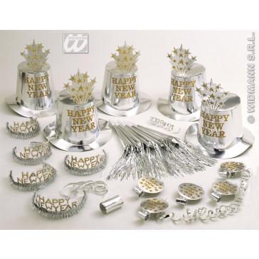 """silver happy new year"" party kit voor 10 personen"