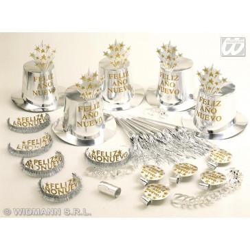 """""""silver feliz ano nuevo"""" party kit voor 10 personen"""