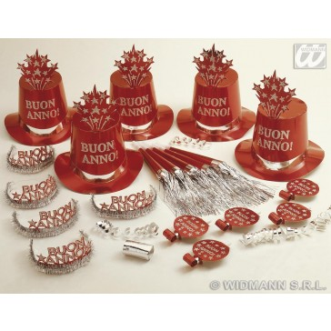 red buon anno party kit voor 10 personen