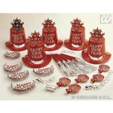 red happy new year party kit voor 10 personen