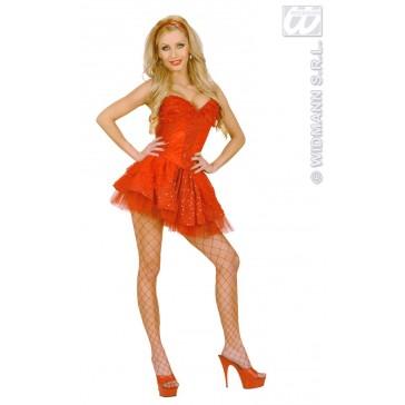 kanten rokje met petticoat, rood