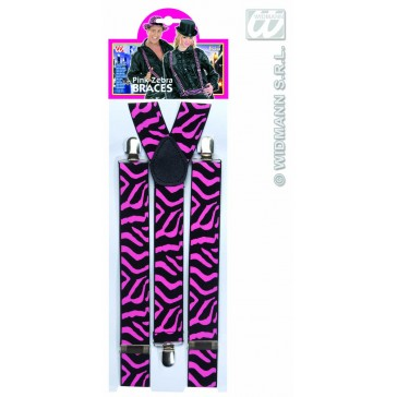 riem zebra zwart/rose