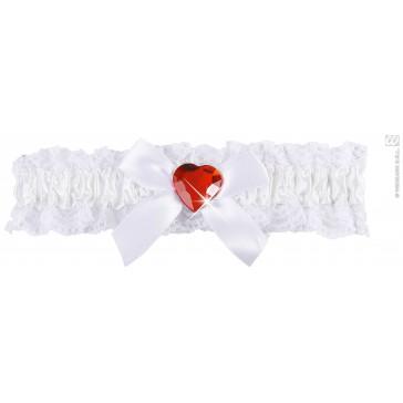 kousenband wit met rood diamanten hartje
