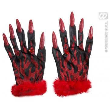 handschoenen duivel met rode glitternagels
