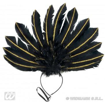 veren hoofdband zwart met goud glitter accenten