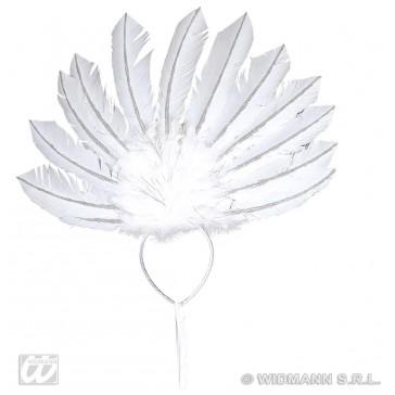 veren hoofdband wit met zilver glitter accenten