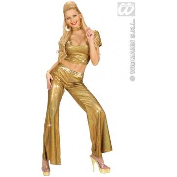 holografische broek dames, goud