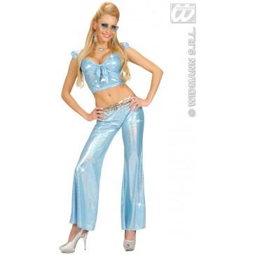 holografische broek dames, blauw