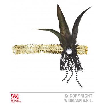 hoofdband pailletten goud met veren en parels