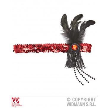 hoofdband pailletten rood met veren en parels