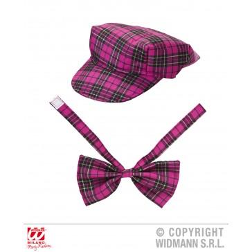 tartan hoedje Roze met strik