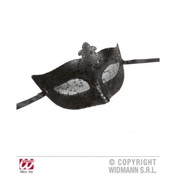 oogmasker, zwart met pailleten en tule
