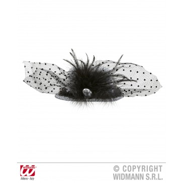 mini hoge hoed zilver lurex met diamant