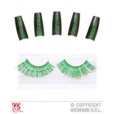 set oogwimpers groen met 10 glitternagels