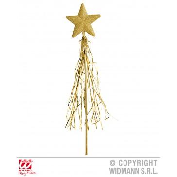feeenstaf ster, goud met metaalfolie draadjes