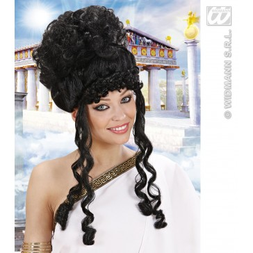 pruik, olympische godin zwart