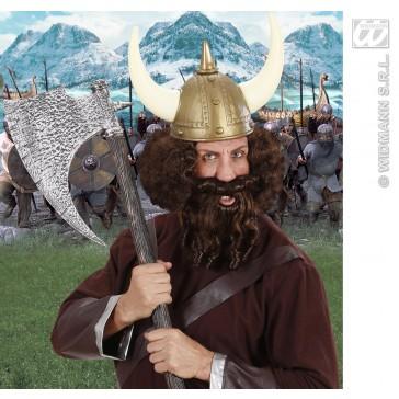 pruik, karakter met lokken en baard, bruin