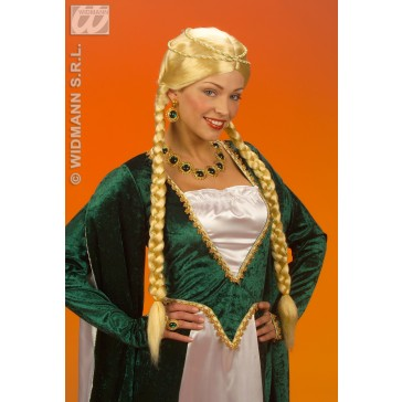pruik, middeleeuwse koningin blond, in doos