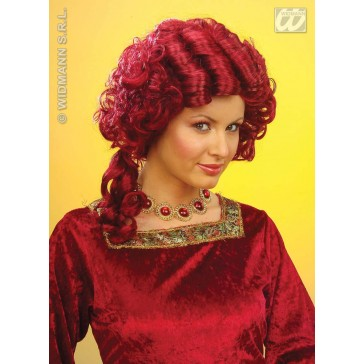 pruik, barok koningin rood (in plastic doos)