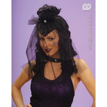 pruik, dark mistress met sluier en spin