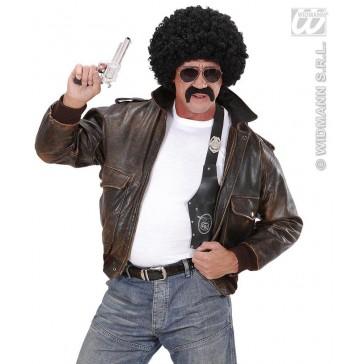 pruik, undercover agent zwarte krul met snor en bril