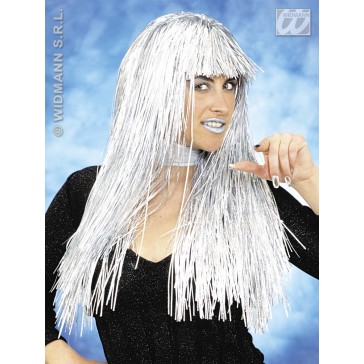 pruik, laser girl zilver (in plastic doos)