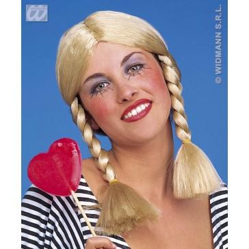 pruik, wendy blond (in plastic doos)