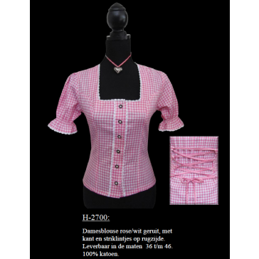 Dirndlblouse rose-wit geruit