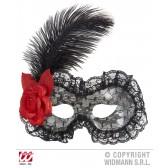 oogmasker zwart met roos en veer