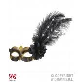 oogmasker goud/zwart met roos en decoratie