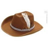 cowboyhoed met veren, wit