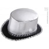 hoge hoed zilver met pailletten beslag