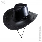 cowboyhoed lederlook met decoratie, zwart
