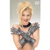 lange handschoenen, rekbaar, metalic bloemmotief