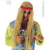 hippie pruik met hoofdband (in plastic zak)