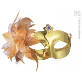 oogmasker, metalic goud met bloem