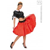 satijnen rokje met petticoat, rood