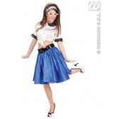 satijnen rokje met petticoat, blauw
