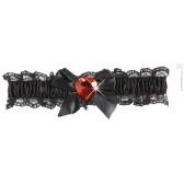 kousenband zwart met rood diamanten hartje