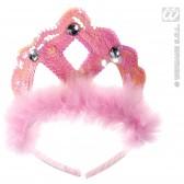 tiara rose pailletten met marabou en 3 stenen
